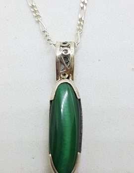 Sterling Silver Ornate Filigree Oval Malachite Pendant on Silver Chain