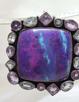 Sterling Silver Large Square Surrounded by Amethyst and Topaz Large Pendant on Silver Choker Chain / Necklace