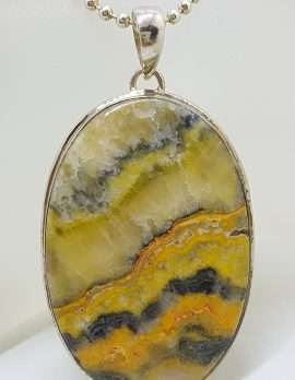 Sterling Silver Bumble Bee Jasper Large Oval Pendant on Silver Chain