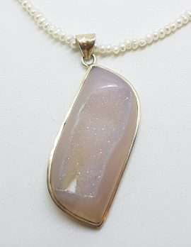 Sterling Silver Large Gemstone Pendant on Pearl Chain Necklace
