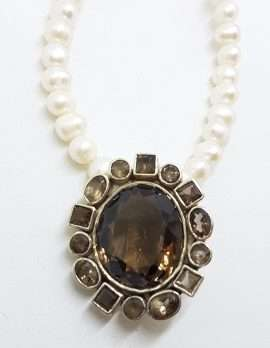 Sterling Silver Large Oval Smokey Quartz Cluster Pendant on Pearl Chain Necklace