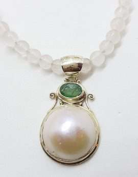 Sterling Silver Mabe Pearl & Emerald Pendant on Rose Quartz Bead Necklace Chain