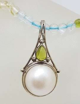 Sterling Silver Ornate Mabe Pearl & Peridot Pendant on Multi-Colour Gemstone Bead Necklace Chain