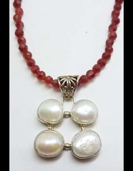 Sterling Silver 4 Pearl Cluster Pendant on Gemstone Bead Necklace Chain