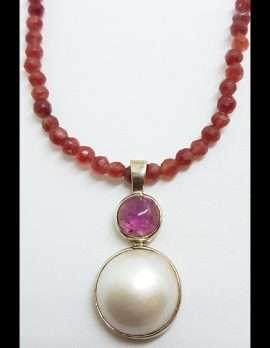 Sterling Silver Mabe Pearl & Pink Tourmaline Pendant on Silver Chain