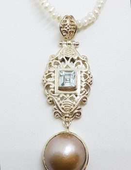 Sterling Silver Long Ornate Topaz with Pearl Drop Pendant on Pearl Chain / Necklace