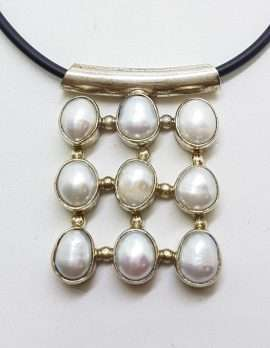 Sterling Silver 9 Pearl Square Cluster Pendant on Neoprene Chain / Necklace
