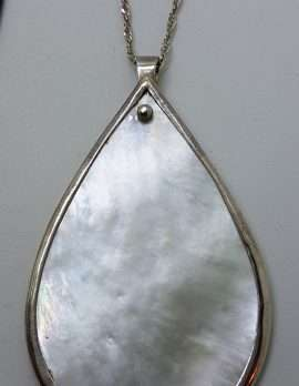 Sterling Silver Large Teardrop Pear Shape Mother of Pearl Pendant on Silver Chain