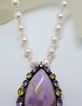 Sterling Silver Large Phosphosiderite surrounded by Amethyst and Citrine Pendant on Pearl Necklace / Chain - Teardrop Pear Shape