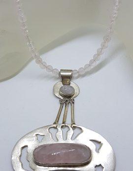 Sterling Silver Large Unusual Rose Quartz Pendant on Rose Quartz Bead Necklace / Chain