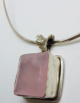 Sterling Silver Large Square Rose Quartz Pendant on Silver Choker Necklace / Chain