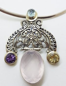 Sterling Silver Rose Quartz , Citrine, Amethyst and Topaz Pendant on Choker