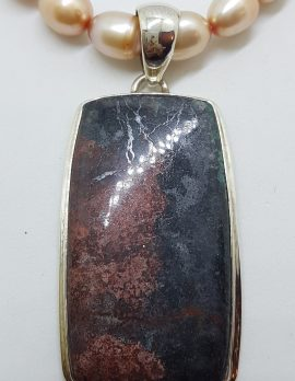 Sterling Silver Large Rectangular Rhodonite Pendant on Pearl Chain / Necklace