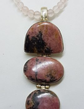 Sterling Silver Large Rhodonite Long Drop Pendant on Rose Quartz Bead Chain / Necklace