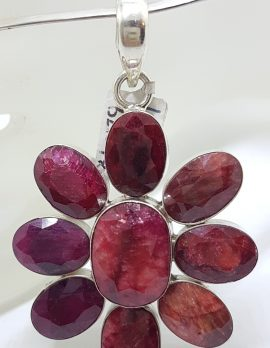 Sterling Silver Large Flower Ruby Cluster Pendant on Sterling Silver Choker Necklace