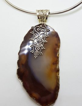 Sterling Silver Very Large Agate with Ornate Filigree Top Pendant on Silver Choker Chain / Necklace