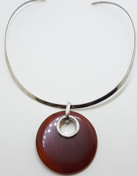 Sterling Silver Large Round Carnelian Pendant on Silver Choker Chain / Necklace