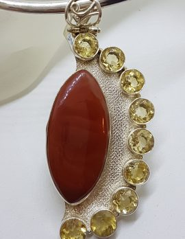 Sterling Silver Very Large and Long Marquis Shape Carnelian with Citrine Pendant on Silver Choker Chain / Necklace