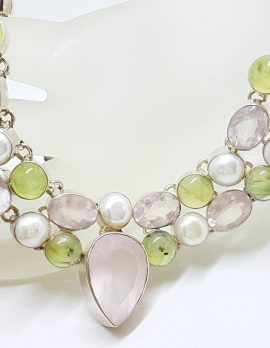 Sterling Silver Large Cluster Rose Quartz, Prehnite and Pearl Collier Necklace / Chain