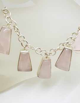 Sterling Silver 5 Drop Rose Quartz Necklace / Chain