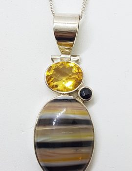Sterling Silver Bumble Bee Quartz, Citrine and Onyx Pendant on Chain