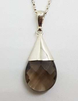 Sterling Silver Cone Drop Smokey Quartz Pendant on Silver Chain