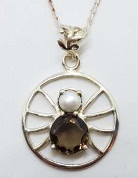 Sterling Silver Smokey Quartz and Pearl Spider Pendant on Silver Chain