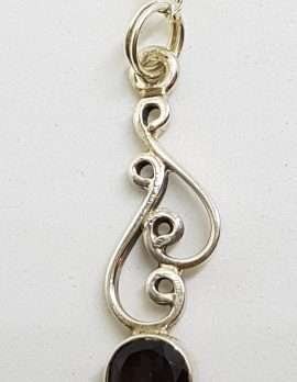 Sterling Silver Smokey Quartz Ornate Swirl Pendant on Silver Chain