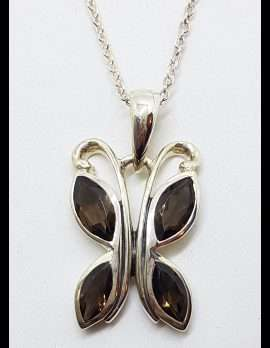 Sterling Silver Smokey Quartz Butterfly Pendant on Silver Chain