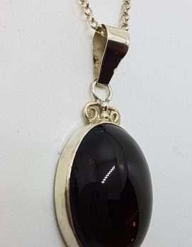 Sterling Silver Oval Ornate Top Bezel Set Cabochon Cut Smokey Quartz Pendant on Silver Chain