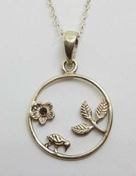 Sterling Silver Ornate Round Smokey Quartz Pendant With Bird, Flower and Leaves Design in Circle on Silver Chain