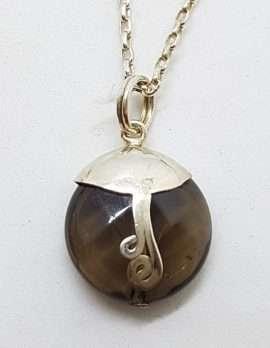 Sterling Silver Round Smokey Quartz with Ornate Twist Pendant on Silver Chain