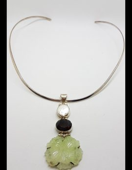 Sterling Silver Large Carved Jade Flower with Smokey Quartz and Pearl Pendant on Silver Choker Chain Necklace