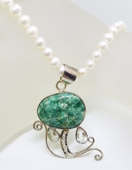 Sterling Silver Large Ornate Green with Clear Crystal Quartz Swirl on Pearl Chain Necklace