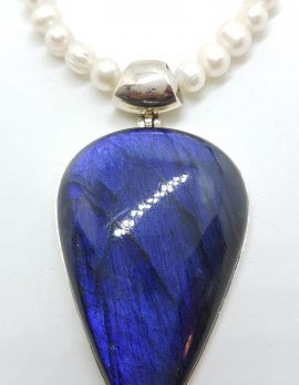 Sterling Silver Large Teardrop Pear Shape Labradorite Pendant on Pearl and Silver Chain / Necklace
