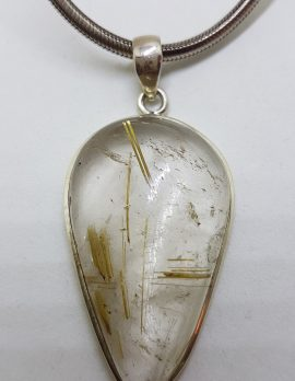 Sterling Silver Large Teardrop Pear Shape Rutilated Quartz Pendant on Thick Silver Chain / Necklace
