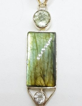 Sterling Silver Very Long Rectangular Labradorite with Clear Crystal Quartz and Green Amethyst / Prasiolite Pendant on Silver Chain / Necklace