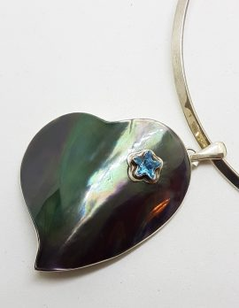Sterling Silver Very Large Paua Shell Heart with Topaz Star Pendant on Silver Choker Chain / Necklace