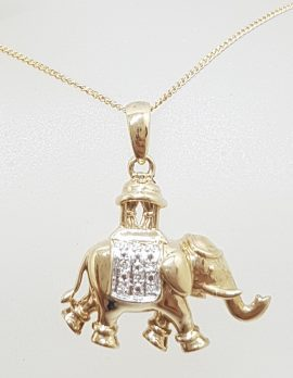 9ct Yellow Gold and Diamond Elephant Pendant on Gold Chain