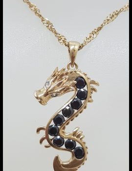 9ct Yellow Gold Dragon with Black Gems and Diamonds Pendant on 9ct Chain