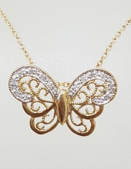 9ct Gold Ornate Diamond Butterfly Pendant on 9ct Gold Chain