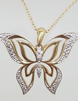 9ct Yellow Gold Ornate Filigree Diamond Butterfly Pendant on 9ct Gold Chain