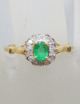 9ct Yellow Gold Natural Emerald with Diamonds Cluster Ring