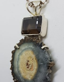 Sterling Silver Smokey Quartz Slice with Rectangular Smokey Quartz Pendant on Chain