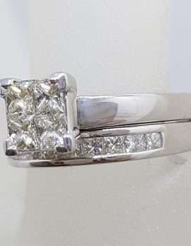 9ct White Gold 4 Princess Cut Square Diamond Engagement Ring with Channel Set Diamond Wedding Ring