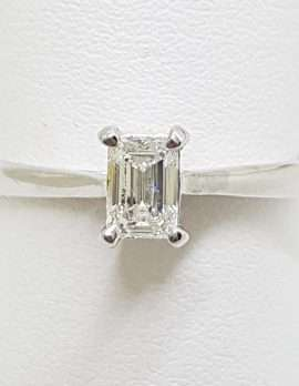 18ct White Gold Emerald Cut Claw Set Diamond Engagement Ring