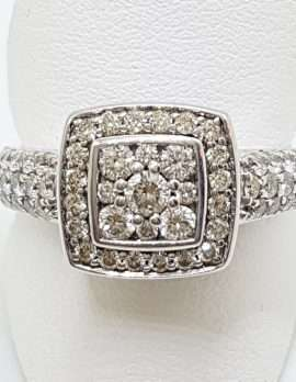 9ct White Gold Square Cluster Diamond Engagement / Dress Ring
