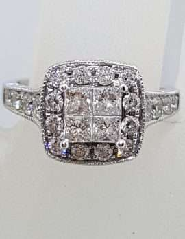 9ct White Gold Square High Set Cluster Diamond Engagement / Dress Ring