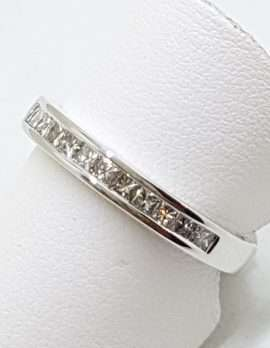 18ct White Gold Square Diamonds Channel Set Wedding / Eternity / Band Ring