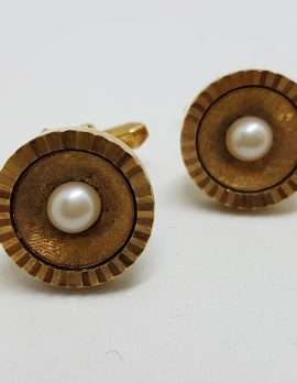 Vintage Costume Gold Plated Cufflinks - Round - Pearl